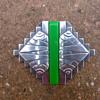 1930s French Modernist Chromed Green Bakelite Pin