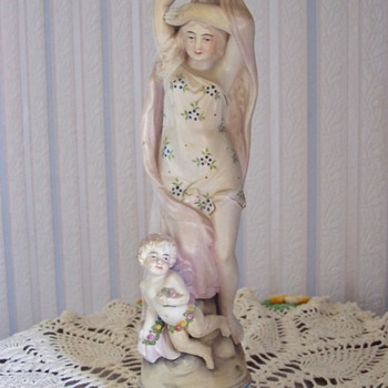 Lady & Cherub Statue - Art Pottery