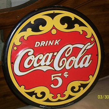 Antique Vintage 5cent Coca-Cola Sign  - Coca-Cola