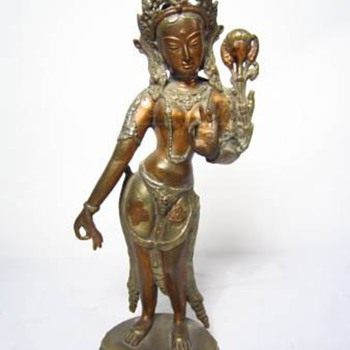 India Diety Goddess and Buddha head  bronze What is name of Goddess? - Asian