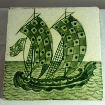 Arts & Crafts ceramics of galleons by de Morgan, Foley and Pilkington