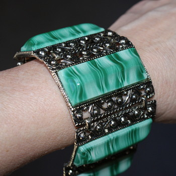 Massive Vintage Plastic and Metal Bracelet - Costume Jewelry