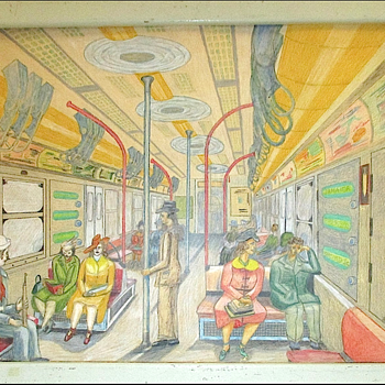 Folk Art Drawing of a New York City Subway Car by Frank DeSio 1958