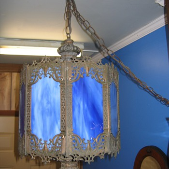 Antique Blue Slag Hanging Lamp  - Lamps