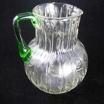 Loetz Clear Crystal Neptun Jug with Green Handle.
