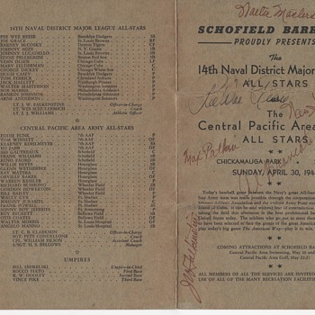 Wartime Baseball Scorecard Autographed by Pee Wee Reese