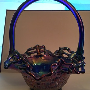 Fenton Basket Weave Blue Carnival Glass basket