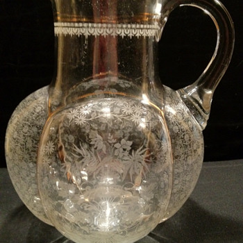 Unique  Hand Blown, Etched,  Melon Shape Pitcher 1800's - Glassware