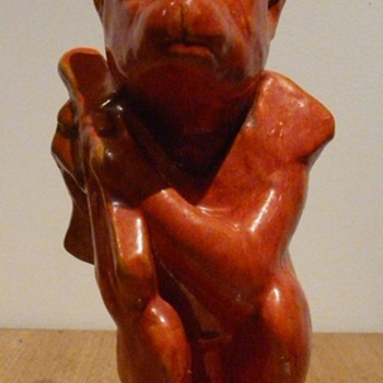 ORANGE LUSTRE MONKEY - MASARU SIGNED  - Art Pottery
