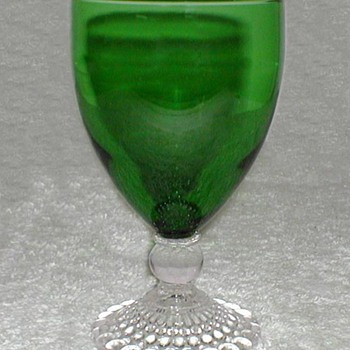 Anchor Hocking Green Glass Goblet - Glassware