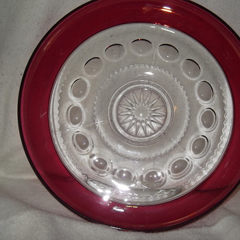 2 Tiffin King's  Crown cranberry flashed bowl/trays