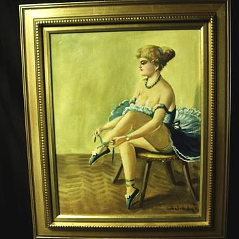 """Folkart Painting""""Ballerina""""XX Century - Visual Art"""