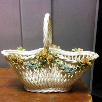 lattice basket and covered dish - Art Pottery