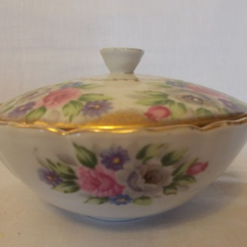 Vintage Porcelain Bouquet by Shafford Covered Bowl - Floral Pattern