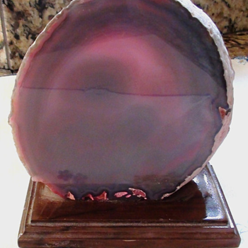 "Geode Bookend Amethyst Purple color, On Wood pedestal 5"" X 5"" Amazing Color You know what is it??"