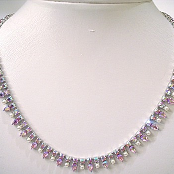 Aurora Borealis Necklace by B. David - Costume Jewelry