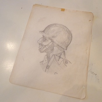 Vintage Soldier Pencil Drawing