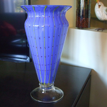 Colourful Blue with Yellow Stripes URN-Shaped VASE- Italian or Bohemian?