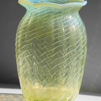 John Walsh Walsh Vaseline Glass Vase - Art Glass