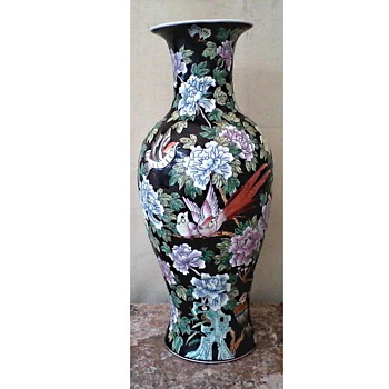 "Chinese ""Famille Noire""  25"" Tall Baluster Vase/ Pheasants, Peonies, and Pomegranate Tree Design /Circa Late 20th Century"