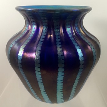 Lundberg Studios Blue Luster Glass Vase, 1994 - Art Glass