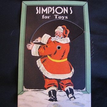 Vintage Simpsons Christmas Postcard with Spinner - Postcards