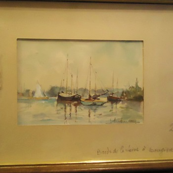 Seine River at Bougival, water color $1.00 Kitty Thrift Store,  Anyone know artist??