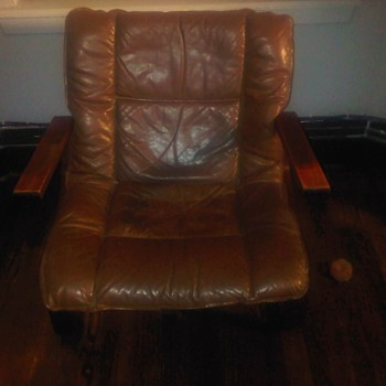 "Circa 1970s Danish Leather Lounge ""S"" frame Chair"