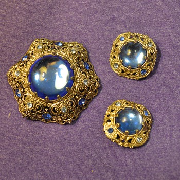 """Germany"" Blue/Silver Brooch and Earrings from my Great-Grandma - Costume Jewelry"