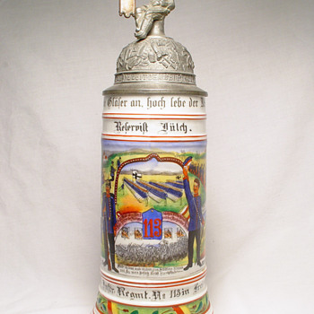 Unusual mint porcelain reservist's stein belonging to Reservist Julch