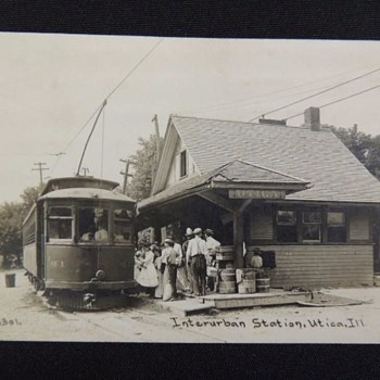 Interesting photo of Trolley Station in Utica, Illinois. - Postcards