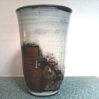 Lois Van Vleet Tall Vase /Drip Glaze Decoration / Signed and Dated / Circa 2006