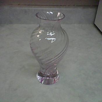 PINK SWIRL CRYSTAL VASE - Art Glass