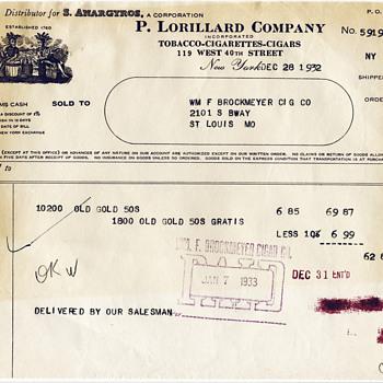 1931 Lorillard Tobacco Invoice - Tobacciana