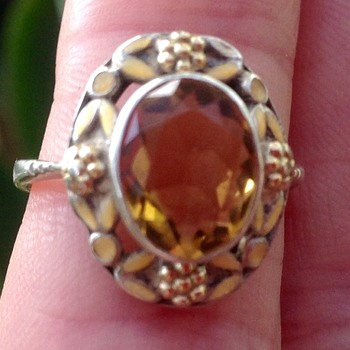 Bernard Instone Citrine and Enamel Silver Ring - Art Deco