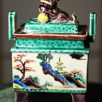 Japanese Porcelain Censer with Foo Dog on Top - Asian