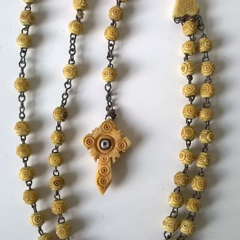 Victorian Carved Cow Bone Rosary With Stanhope Flea Market Find $2.00 - Victorian Era