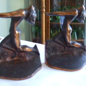 "ART DECO BRONZED BOOKENDS ""Nude With Outstretched Arms"" Variety? - Art Deco"