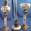 German Hand Painted Porcelain or China Kerosene Banquet Lamp w Brenner Kosmos Burner