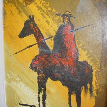 South American ? Man on horseback paiting signed Sergio