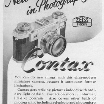 "1953 - Zeiss Ikon ""Contax"" Camera Advertisement - Advertising"