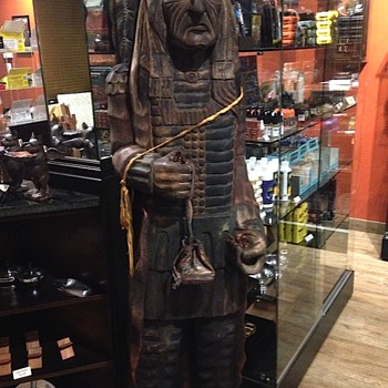 250lb Native American wood carved statue - Visual Art