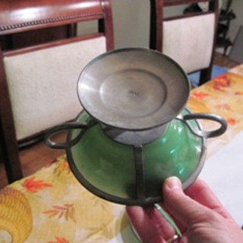 opaque green glass and pewter - Glassware