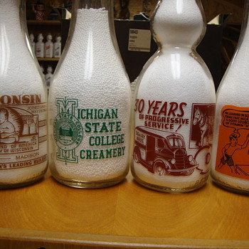 Milk bottles with unique reverse sides..... - Bottles