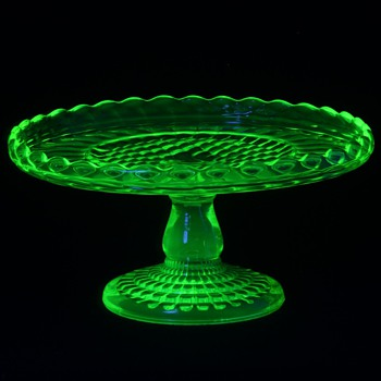 Central Glass Co. #795 Ribbed Rope Band Canary (Vaseline) Cake Stand c.1883 - Glassware