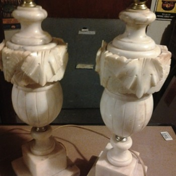 vintage marble and ivory table lamps