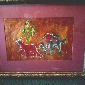 "Matador Watercolor-Gouache Painting / 28"" x 22"" Framed /Circa Mid 20th Century - Fine Art"