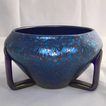 "Loetz Cobalt Papillon Bowl with Applied Feet. PN-II 7318. 6"" wide. Circa 1910 - Art Glass"