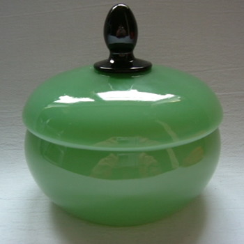 Czech Art Deco Tango Glass Lidded Bowl