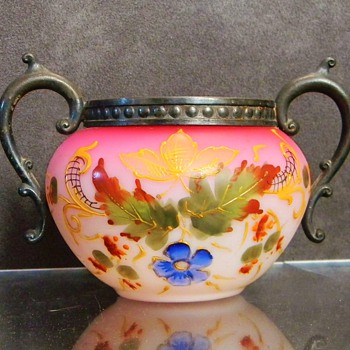 Bohemian? English? Peachblow Enamelled Pewter Sugar Bowl